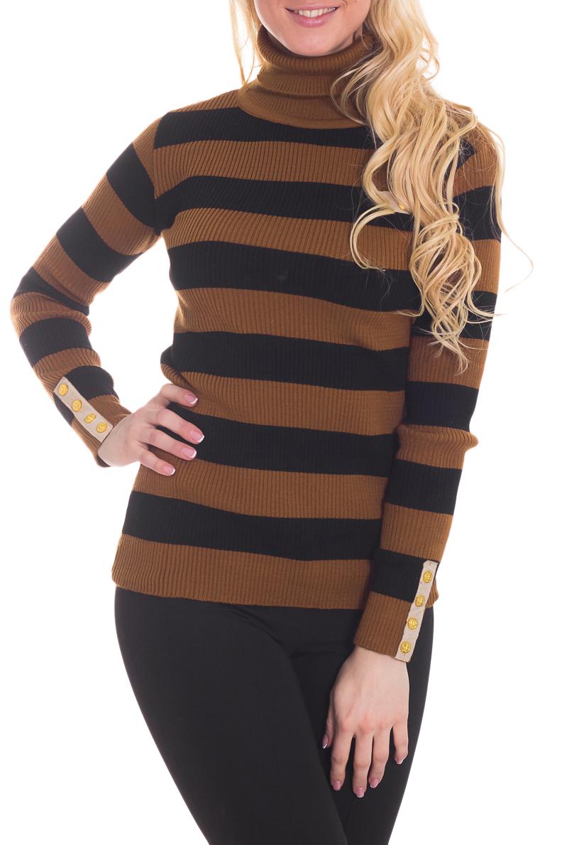 ВодолазкаВодолазки<br>Полосатая водолазка с длинными рукавами. Вязаный трикотаж - это красота, тепло и комфорт. В вязанной одежде очень легко оставаться женственной и в то же время не замёрзнуть.  Цвет: коричневый, черный.  Рост девушки-фотомодели 170 см.<br><br>Воротник: Стойка<br>По материалу: Вязаные<br>По рисунку: В полоску,Цветные,С принтом<br>По сезону: Зима,Осень,Весна<br>По силуэту: Полуприталенные<br>По стилю: Повседневный стиль<br>Рукав: Длинный рукав<br>Размер : 44-46<br>Материал: Вязаное полотно<br>Количество в наличии: 1