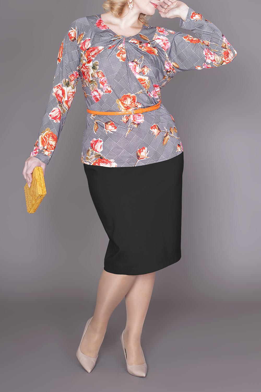 БлузкаБлузки<br>Цветная блузка с декоративным элементом у горловины. Модель выполнена из приятного трикотажа. Отличный выбор для повседневного гардероба.  Блузка без пояса.  В изделии использованы цвета: серый, красный, черный и др.  Ростовка изделия 170 см.  Параметры размеров: 48 размер - обхват груди 100 см., обхват талии 84 см., обхват бедер 108 см. 50 размер - обхват груди 104 см., обхват талии 89 см., обхват бедер 112 см. 52 размер - обхват груди 108 см., обхват талии 94 см., обхват бедер 116 см. 54 размер - обхват груди 112 см., обхват талии 99 см., обхват бедер 120 см. 56 размер - обхват груди 116 см., обхват талии 104 см., обхват бедер 124 см. 58 размер - обхват груди 120 см., обхват талии 109 см., обхват бедер 128 см. 60 размер - обхват груди 124 см., обхват талии 114 см., обхват бедер 132 см. 62 размер - обхват груди 128 см., обхват талии 119 см., обхват бедер 136 см. 64 размер - обхват груди 132 см., обхват талии 124 см., обхват бедер 140 см. 66 размер - обхват груди 136 см., обхват талии 129 см., обхват бедер 144 см. 68 размер - обхват груди 140 см., обхват талии 134 см., обхват бедер 148 см. 70 размер - обхват груди 144 см., обхват талии 139 см., обхват бедер 152 см. 72 размер - обхват груди 148 см., обхват талии 144 см., обхват бедер 156 см. 74 размер - обхват груди 152 см., обхват талии 149 см., обхват бедер 160 см. 76 размер - обхват груди 156 см., обхват талии 154 см., обхват бедер 164 см.<br><br>Горловина: С- горловина<br>По материалу: Трикотаж<br>По рисунку: Растительные мотивы,С принтом,Цветные,Цветочные<br>По сезону: Весна,Зима,Лето,Осень,Всесезон<br>По силуэту: Приталенные<br>По стилю: Повседневный стиль<br>По элементам: С декором<br>Рукав: Длинный рукав<br>Размер : 52,54,56,60,62,64,66,68,70,72<br>Материал: Холодное масло<br>Количество в наличии: 10