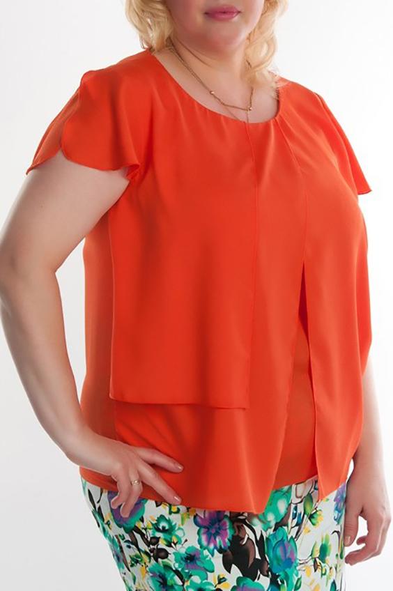 БлузкаБлузки<br>Женская блузка с круглой горловиной и короткими рукавами. Модель выполнена из легкого шифона. Отличный выбор для повседневного гардероба.  Цвет: оранжевый<br><br>По рисунку: Однотонные<br>По сезону: Весна,Всесезон,Зима,Лето,Осень<br>По силуэту: Полуприталенные<br>По элементам: С декором<br>Рукав: Короткий рукав<br>Горловина: С- горловина<br>По материалу: Шифон<br>По стилю: Повседневный стиль,Летний стиль<br>Размер : 50,56<br>Материал: Шифон<br>Количество в наличии: 5