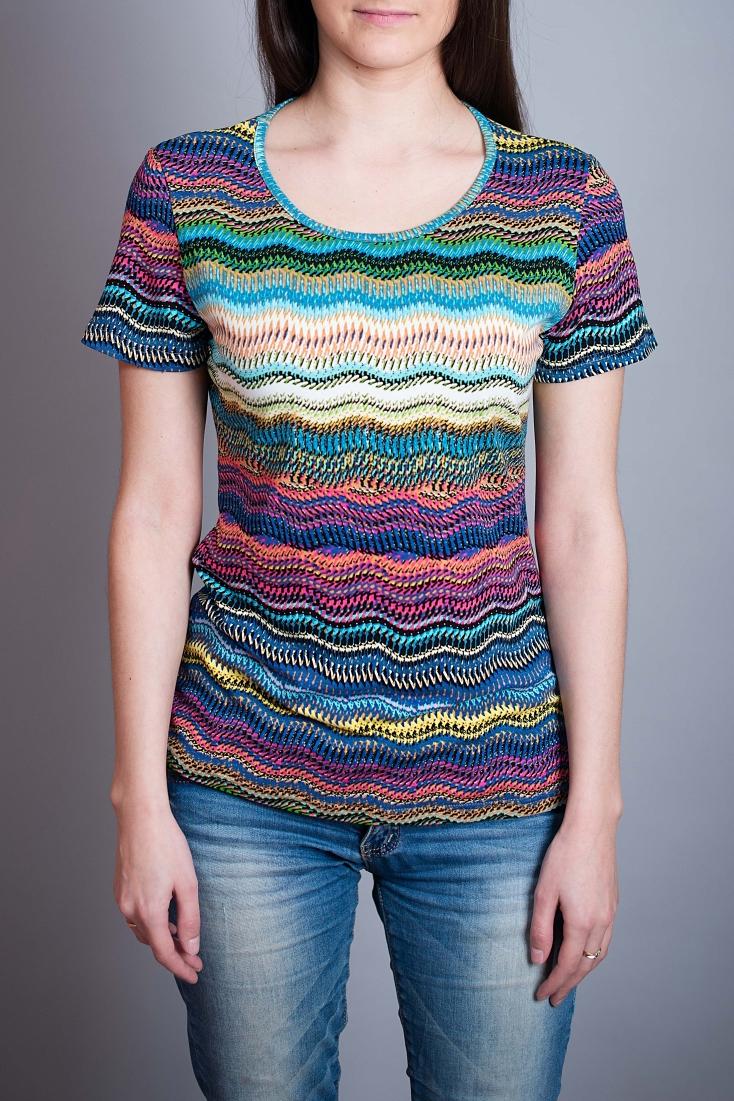 БлузаБлузки<br>Цветная блузка полуприталенного силуэта. Модель выполнена из приятного материала. Отличный выбор для повседневного гардероба.  В изделии использованы цвета: голубой, розовый и др.  Ростовка изделия 164 см.<br><br>Горловина: С- горловина<br>По материалу: Вискоза,Трикотаж<br>По рисунку: В полоску,С принтом,Цветные<br>По сезону: Весна,Зима,Лето,Осень,Всесезон<br>По силуэту: Полуприталенные<br>По стилю: Повседневный стиль,Летний стиль<br>Рукав: Короткий рукав<br>Размер : 44,48<br>Материал: Вискоза<br>Количество в наличии: 2
