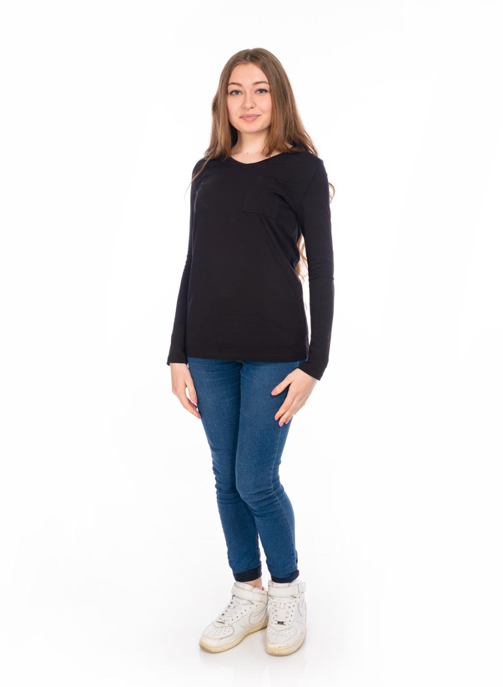 БлузкаДжемперы<br>Универсальная блузка с длинными рукавами. Модель выполнена из эластичного трикотажа. Отличный выбор для повседневного гардероба.  Цвет: черный  Ростовка изделия 170 см.<br><br>Горловина: С- горловина<br>По материалу: Трикотаж,Хлопок<br>По образу: Город<br>По рисунку: Однотонные<br>По сезону: Всесезон,Зима,Лето,Осень,Весна<br>По силуэту: Полуприталенные<br>По стилю: Повседневный стиль<br>По элементам: С карманами<br>Рукав: Длинный рукав<br>Размер : 48,50<br>Материал: Трикотаж<br>Количество в наличии: 2