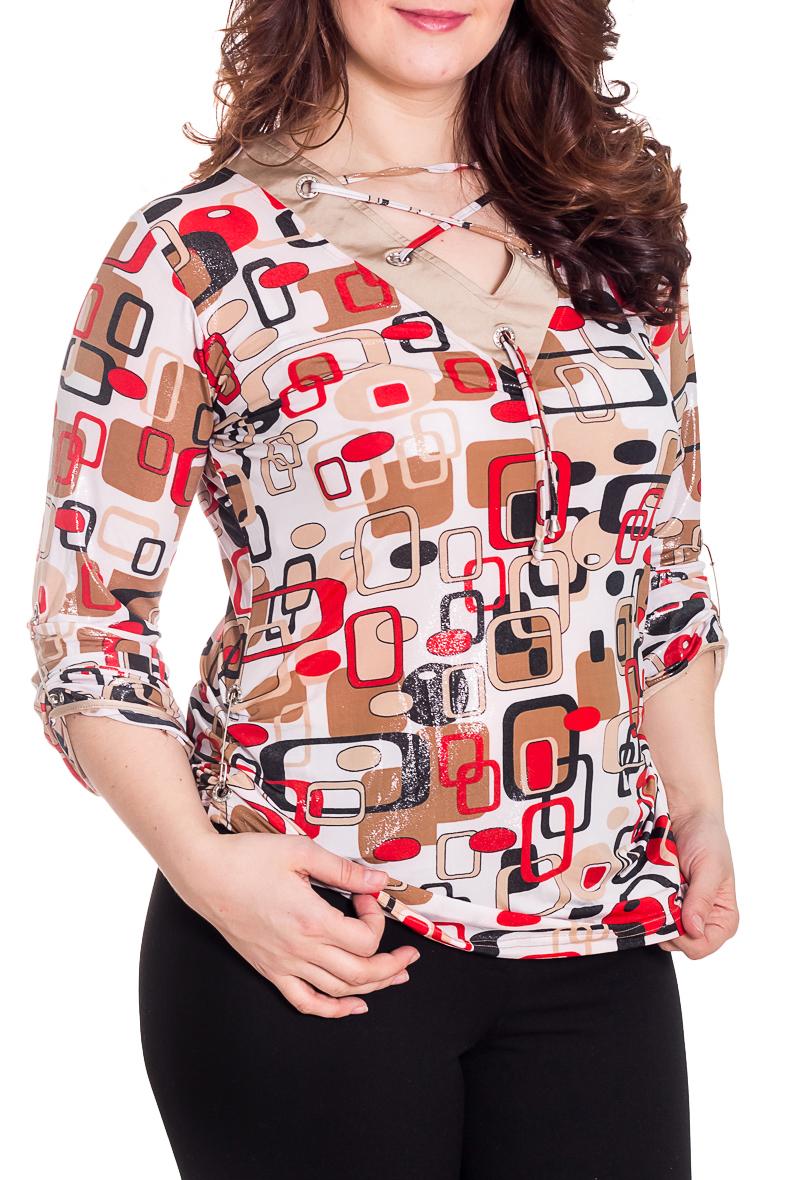 БлузкаБлузки<br>Чудесная блузка с интересной горловиной. Модель выполнена из приятного материала. Отличный выбор для повседневного гардероба.  Цвет: белый, бежевыЙ, красный, черный  Рост девушки-фотомодели 180 см.<br><br>Застежка: С завязками<br>По материалу: Вискоза,Трикотаж<br>По образу: Город,Свидание<br>По рисунку: Геометрия,С принтом,Цветные<br>По сезону: Весна,Всесезон,Зима,Лето,Осень<br>По силуэту: Полуприталенные<br>По стилю: Повседневный стиль<br>По элементам: С декором<br>Рукав: Рукав три четверти<br>Горловина: Фигурная горловина<br>Размер : 46,48,50,52,54,56,58<br>Материал: Холодное масло<br>Количество в наличии: 15