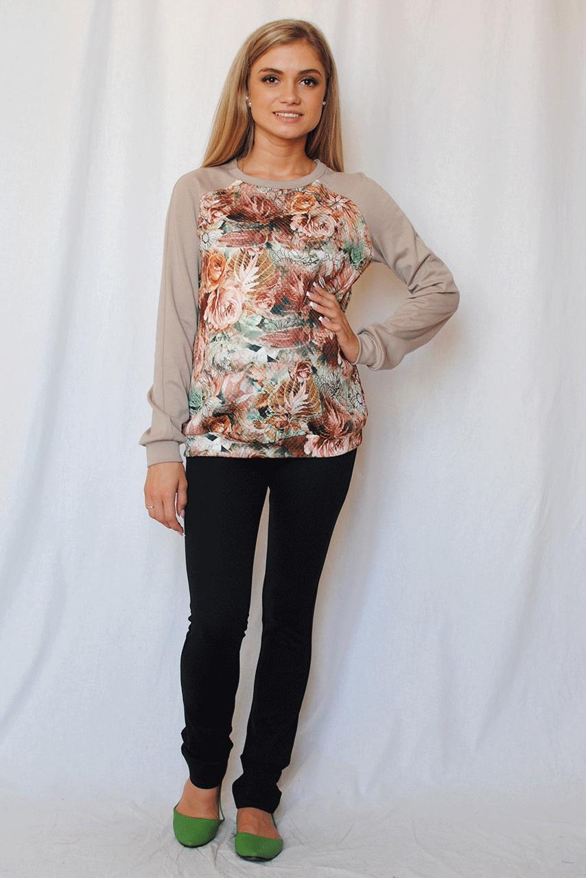 ДжемперДжемперы<br>Тренд этого сезона – свитшоты – вот что действительно модно Очень красивая модель с ярким цветочным принтом и необычным кроем плеча станет любимой вещью в вашем гардеробе.  За счет свободного кроя и эластичного материала изделие можно носить во время беременности  Цвет: бежевый, коричневый, зеленый  Параметры в 42 размере: Длина изделия: по спинке 61 см Длина рукава: 75 см  Ростовка изделия 170 см.<br><br>Горловина: С- горловина<br>По материалу: Трикотаж<br>По образу: Город,Свидание<br>По рисунку: Растительные мотивы,С принтом,Цветные,Цветочные<br>По силуэту: Полуприталенные<br>По стилю: Молодежный стиль,Повседневный стиль,Романтический стиль,Спортивный стиль<br>По элементам: С манжетами<br>Рукав: Длинный рукав<br>По сезону: Осень,Весна<br>Размер : 46,48,50,52<br>Материал: Трикотаж<br>Количество в наличии: 1