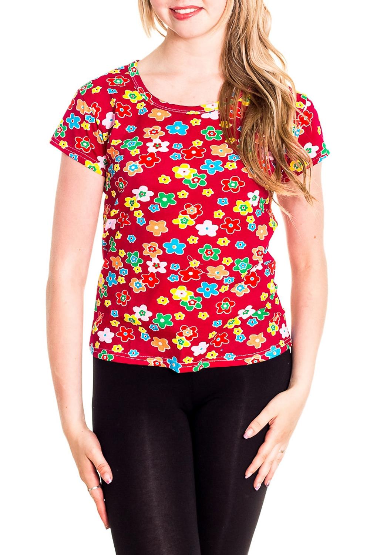 ФутболкаФутболки<br>Хлопковая футболка с короткими рукавами. Домашняя одежда, прежде всего, должна быть удобной, практичной и красивой. В наших изделиях Вы будете чувствовать себя комфортно, особенно, по вечерам после трудового дня.  Цвет: красный, мультицвет  Рост девушки-фотомодели 170 см<br><br>Горловина: С- горловина<br>По рисунку: Растительные мотивы,Цветные,Цветочные,С принтом<br>По сезону: Весна,Зима,Лето,Осень,Всесезон<br>По силуэту: Полуприталенные<br>По форме: Футболки<br>Рукав: Короткий рукав<br>По материалу: Хлопок<br>Размер : 42-44<br>Материал: Хлопок<br>Количество в наличии: 2
