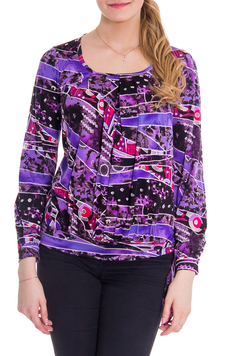 БлузкаБлузки<br>Женская блузка с круглой горловиной и длинными рукавами. Модель выполнена из приятного материала. Отличный вариант для повседневного гардероба.  За счет свободного кроя и эластичного материала изделие можно носить во время беременности  Рост девушки-фотомодели - 176 см  Цвет: фиолетовый<br><br>Горловина: С- горловина<br>По материалу: Вискоза<br>По рисунку: Абстракция,Цветные,С принтом<br>По сезону: Зима,Осень,Весна,Лето,Всесезон<br>По силуэту: Полуприталенные<br>Рукав: Длинный рукав<br>По стилю: Повседневный стиль<br>По элементам: С манжетами<br>Размер : 42,44<br>Материал: Вискоза<br>Количество в наличии: 2