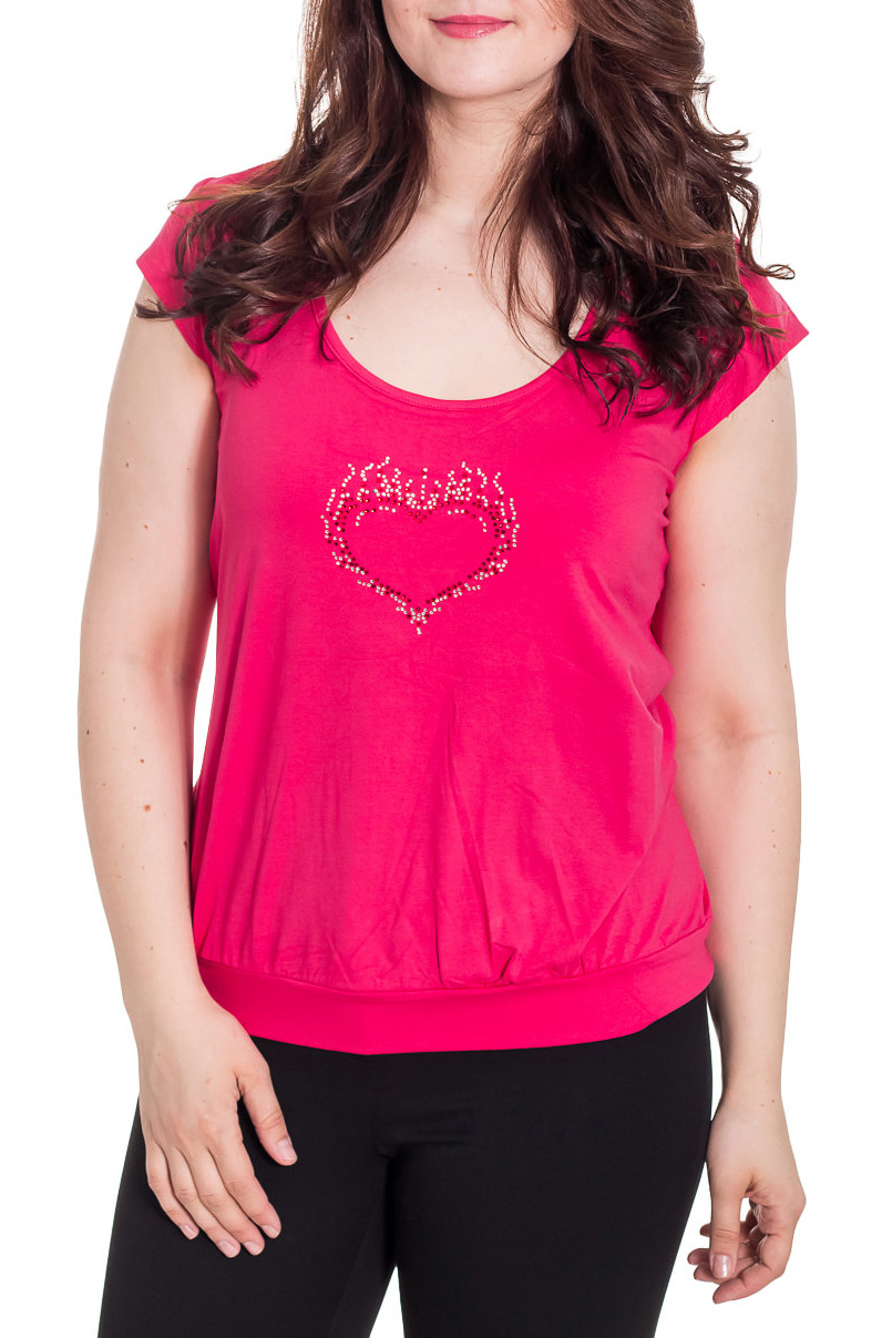БлузкаБлузки<br>Однотонная женская блузка с короткими рукавами крылышко. Модель выполнена из приятного трикотажа Отличный выбор для повседневного гардероба.  Цвет: розовый  Рост девушки-фотомодели 180 см.<br><br>Горловина: С- горловина<br>По материалу: Вискоза,Трикотаж<br>По образу: Город<br>По рисунку: Однотонные<br>По сезону: Весна,Зима,Лето,Осень,Всесезон<br>По силуэту: Полуприталенные,Свободные<br>По стилю: Повседневный стиль<br>Рукав: Короткий рукав<br>Размер : 52<br>Материал: Вискоза<br>Количество в наличии: 1