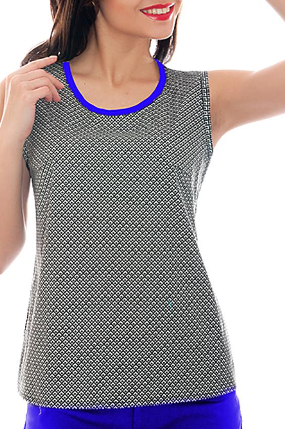 БлузкаБлузки<br>Легкая женская блуза. Модель полуприлегающего силуэта из высококачественного поплина, имеет круглый вырез горловины с контрастной окантовкой и открытые проймы. Такая блуза отлично подойдет для создания стильного образа как для повседневных нарядов, так и в офис, с жакетом или самостоятельно.   Параметры изделия:  42 размер: ширина по линии груди 45см; ширина по линии бедер 49см; длина изделия по спинке 60см;  54 размер: ширина по линии груди 57см; ширина по линии бедра 60см; длина изделия по спинке 67см.  В изделии использованы цвета: белый, черный, синий  Рост девушки-фотомодели 170 см.<br><br>Горловина: С- горловина<br>По материалу: Хлопок<br>По рисунку: С принтом,Цветные<br>По сезону: Весна,Зима,Лето,Осень,Всесезон<br>По силуэту: Полуприталенные<br>По стилю: Повседневный стиль<br>Рукав: Без рукавов<br>Размер : 40,48,52,54,56<br>Материал: Хлопок<br>Количество в наличии: 5
