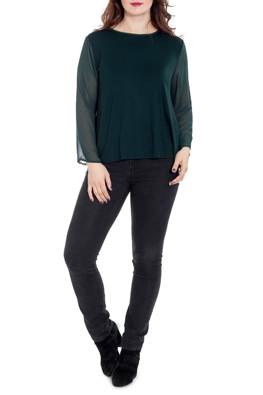 БлузкаБлузки<br>Однотонная блузка с круглой горловиной и длинными рукавами. Модель выполнена из приятного материала. Отличный выбор для повседневного гардероба.  Цвет: зеленый  Рост девушки-фотомодели 180 см<br><br>Горловина: С- горловина<br>По материалу: Трикотаж,Шифон<br>По рисунку: Однотонные<br>По сезону: Весна,Зима,Лето,Осень,Всесезон<br>По силуэту: Прямые<br>По стилю: Нарядный стиль,Повседневный стиль<br>По элементам: С отделочной фурнитурой<br>Рукав: Длинный рукав<br>Размер : 44,46,48,50<br>Материал: Трикотаж + Шифон<br>Количество в наличии: 4