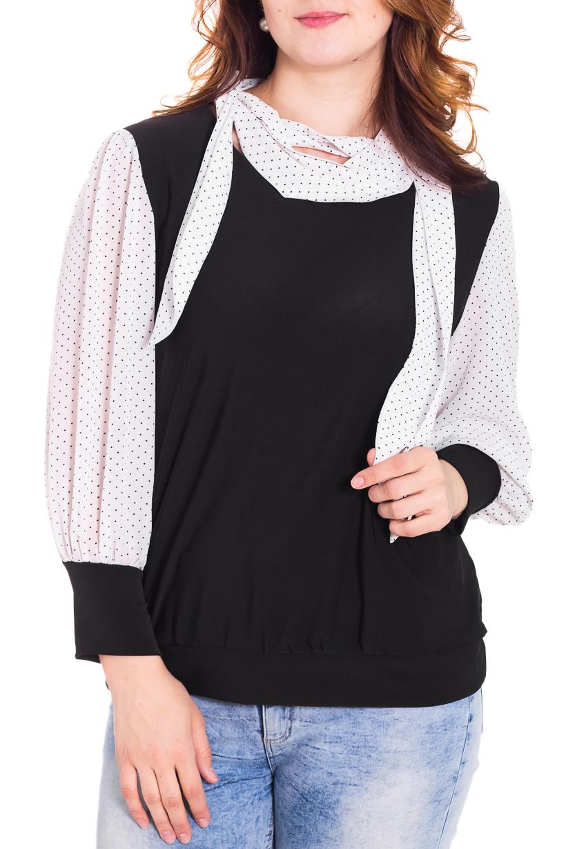 БлузкаБлузки<br>Замечательная блузка с длинными рукавами. Модель выполнена из воздушного шифона и приятного трикотажа. Отличный выбор для любого случая. Ростовка изделия 160-170 см.  Цвет: черный, белый  Рост девушки-фотомодели 180 см.<br><br>Воротник: Фантазийный<br>По материалу: Трикотаж,Шифон<br>По рисунку: В горошек,Цветные,С принтом<br>По сезону: Весна,Всесезон,Зима,Лето,Осень<br>По силуэту: Полуприталенные<br>По стилю: Повседневный стиль<br>Рукав: Длинный рукав<br>По элементам: С манжетами<br>Размер : 50<br>Материал: Холодное масло + Шифон<br>Количество в наличии: 1
