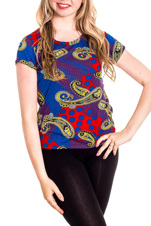 ФутболкаФутболки<br>Хлопковая футболка с короткими рукавами. Домашняя одежда, прежде всего, должна быть удобной, практичной и красивой. В наших изделиях Вы будете чувствовать себя комфортно, особенно, по вечерам после трудового дня.  Цвет: синий, мультицвет  Рост девушки-фотомодели 170 см<br><br>Горловина: С- горловина<br>По рисунку: Цветные,Этнические,С принтом<br>По сезону: Весна,Зима,Лето,Осень,Всесезон<br>По силуэту: Полуприталенные<br>По форме: Футболки<br>Рукав: Короткий рукав<br>По материалу: Хлопок<br>Размер : 42-44<br>Материал: Хлопок<br>Количество в наличии: 3