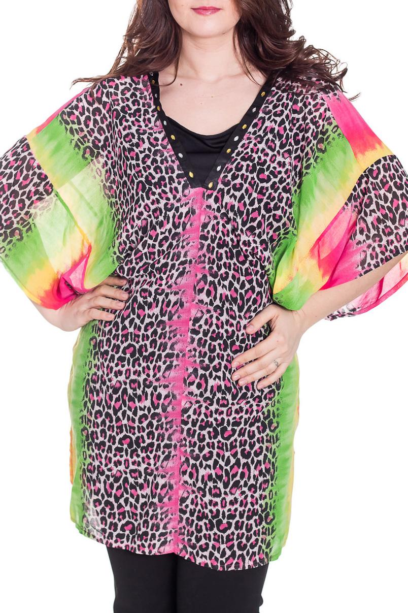 ТуникаТуники<br>Яркая туника свободного силуэта. Модель выполнена из приятного материала. Отличный выбор для повседневного гардероба. Тунику можно носить как пляжное парео. Туника без майки.  Цвет: розовый, салатовый, черный, белый  Рост девушки-фотомодели 180 см<br><br>Горловина: V- горловина<br>По материалу: Вискоза,Шифон<br>По образу: Город<br>По рисунку: Леопард,С принтом,Цветные<br>По силуэту: Прямые<br>По стилю: Повседневный стиль<br>Рукав: До локтя<br>По сезону: Лето<br>Размер : 54,56,58,60<br>Материал: Шифон + Атлас<br>Количество в наличии: 7