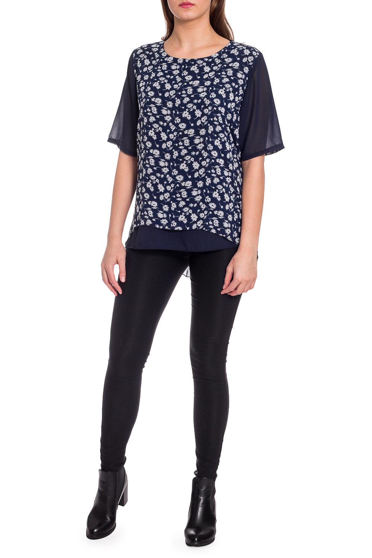 БлузкаБлузки<br>Цветная блузка с удлиненной спинкой. Модель выполнена из приятного материала. Отличный выбор для любого случая.  В изделии использованы цвета: синий, белый и др.  Рост девушки-фотомодели 173 см.<br><br>Горловина: С- горловина<br>По материалу: Шифон<br>По рисунку: Растительные мотивы,С принтом,Цветные,Цветочные<br>По сезону: Весна,Зима,Лето,Осень,Всесезон<br>По силуэту: Прямые<br>По стилю: Повседневный стиль<br>По элементам: С фигурным низом<br>Рукав: До локтя<br>Размер : 52,54,56<br>Материал: Шифон<br>Количество в наличии: 3