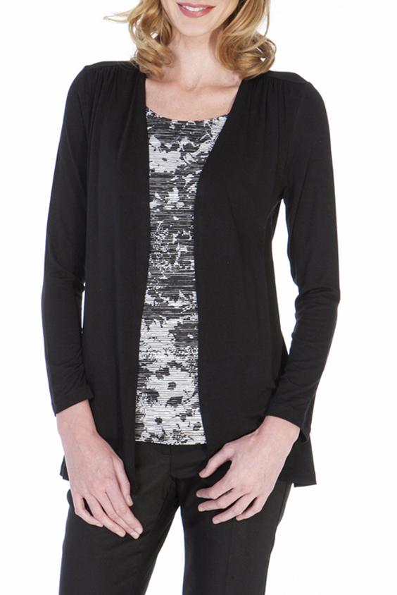 БлузкаБлузки<br>Интересная блузка имитирует блузку и кардиган. Модель выполнена из приятного материала. Отличный выбор для повседневного гардероба.  Цвет: черный, белый, серый  Ростовка изделия 170 см.<br><br>Горловина: С- горловина<br>По рисунку: Цветные,С принтом<br>По сезону: Весна,Осень,Зима<br>По силуэту: Полуприталенные<br>По стилю: Повседневный стиль<br>Рукав: Длинный рукав<br>По материалу: Вискоза<br>Размер : 44,46,48,50,52<br>Материал: Вискоза<br>Количество в наличии: 5