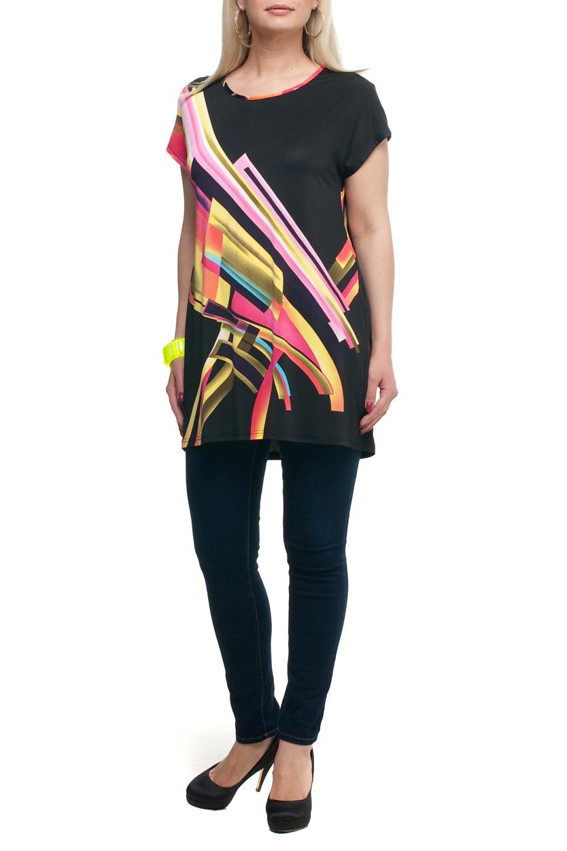 ТуникаТуники<br>Цветная туника с круглой горловиной и короткими рукавами. Модель выполнена из струящегося трикотажа. Отличный выбор для повседневного гардероба.  В изделии использованы цвета: черный, желтый, розовый и др.  Рост девушки-фотомодели 173 см<br><br>Горловина: С- горловина<br>По материалу: Трикотаж<br>По рисунку: С принтом,Цветные<br>По силуэту: Полуприталенные<br>По стилю: Повседневный стиль<br>Рукав: Короткий рукав<br>По сезону: Лето,Весна,Зима,Осень,Всесезон<br>Размер : 52,54,56,58,60,62,66,68<br>Материал: Холодное масло<br>Количество в наличии: 36