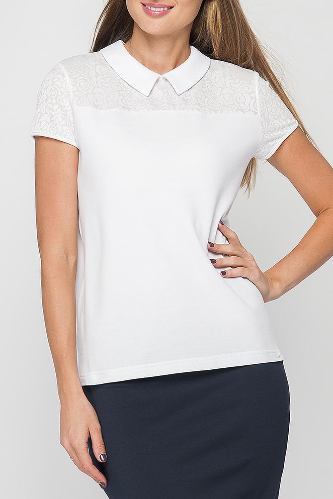 БлузкаБлузки<br>Блузка из трикотажа с кружевом, прямого силуэта. Модель имеет отложной воротник с застежкой на пуговицу со стороны спинки, рукава и кокетка выполнены из кружева. Такая блузка прекрасно подойдет для офисного или повседневного образа.   Параметры изделия:  42 размер: обхват груди - 96 см, длина рукава - 14 см, длина изделия - 58 см;  52 размер: обхват груди - 116 см, длина рукава - 15 см, длина изделия - 64 см.  В изделии использованы цвета: белый  Рост девушки-фотомодели 175 см.<br><br>Воротник: Отложной<br>По материалу: Гипюр,Трикотаж<br>По рисунку: Однотонные<br>По сезону: Весна,Зима,Лето,Осень,Всесезон<br>По силуэту: Прямые<br>По стилю: Повседневный стиль,Романтический стиль,Летний стиль<br>Рукав: Короткий рукав<br>Размер : 44<br>Материал: Трикотаж + Гипюр<br>Количество в наличии: 1