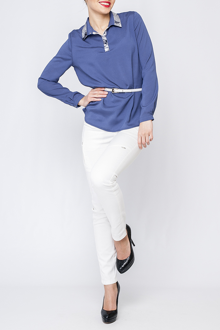 РубашкаБлузки<br>Рубашка женская полуприталеного силуэта. Нежная и элегантная модель которая идеально будет сочетаться как с юбкой так и с брюками.  Рубашка без пояса.  В изделии использованы цвета: синий и др.  Рост девушки-фотомодели 170 см.<br><br>Воротник: Рубашечный<br>По материалу: Тканевые<br>По рисунку: Однотонные,С принтом<br>По сезону: Весна,Зима,Лето,Осень,Всесезон<br>По силуэту: Полуприталенные<br>По стилю: Повседневный стиль<br>По элементам: С манжетами<br>Рукав: Длинный рукав<br>Размер : 42,48<br>Материал: Блузочная ткань<br>Количество в наличии: 2