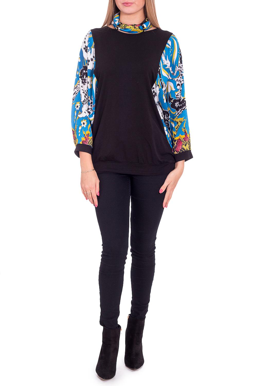 БлузкаБлузки<br>Красивая блузка с цветными рукавами. Модель выполнена из приятного материала. Отличный выбор для любого случая.  В изделии использованы цвета: черный, синий и др.  Рост девушки-фотомодели 170 см<br><br>Воротник: Фантазийный<br>По материалу: Блузочная ткань,Трикотаж<br>По рисунку: С принтом,Цветные,Цветочные<br>По сезону: Весна,Зима,Лето,Осень,Всесезон<br>По силуэту: Прямые<br>По стилю: Повседневный стиль<br>По элементам: С манжетами<br>Рукав: Длинный рукав,Рукав три четверти<br>Размер : 48,50,52<br>Материал: Трикотаж + Блузочная ткань<br>Количество в наличии: 3
