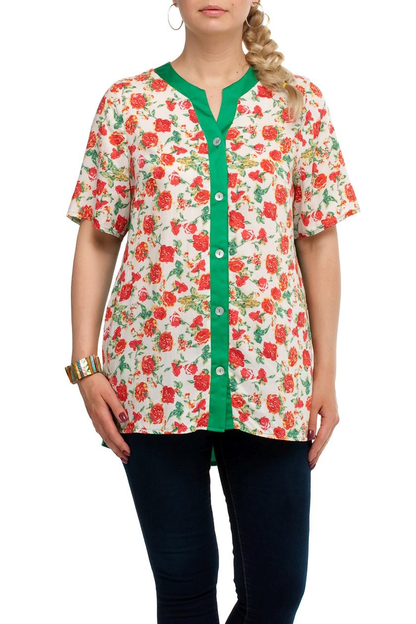 БлузаБлузки<br>Удлиненная блузка прямого силуэта. Модель выполнена из хлопкового материала. Отличный выбор для любого случая.  В изделии использованы цвета: белый, зеленый, коралловый и др.  Рост девушки-фотомодели 173 см<br><br>Застежка: С пуговицами<br>По материалу: Тканевые,Хлопок<br>По рисунку: Растительные мотивы,С принтом,Цветные,Цветочные<br>По сезону: Весна,Зима,Лето,Осень,Всесезон<br>По силуэту: Прямые<br>По стилю: Повседневный стиль,Летний стиль<br>Рукав: До локтя<br>Горловина: Фигурная горловина<br>Размер : 48,50,52,54,56,58,60,62,64,66,68,70<br>Материал: Блузочная ткань<br>Количество в наличии: 13