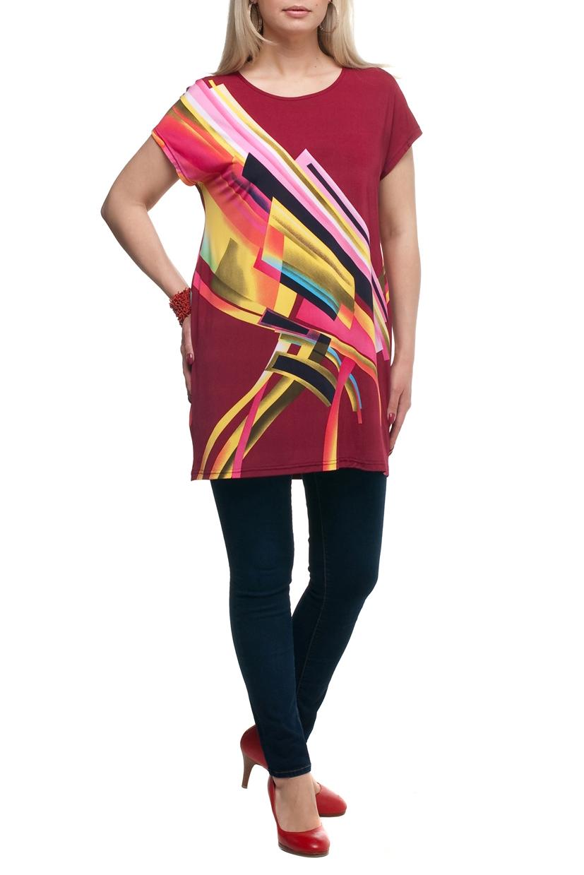 ТуникаТуники<br>Цветная туника с круглой горловиной и короткими рукавами. Модель выполнена из струящегося трикотажа. Отличный выбор для повседневного гардероба.  В изделии использованы цвета: бордовый, желтый и др.  Рост девушки-фотомодели 173 см<br><br>Горловина: С- горловина<br>По материалу: Трикотаж<br>По рисунку: С принтом,Цветные<br>По силуэту: Полуприталенные<br>По стилю: Повседневный стиль,Летний стиль<br>Рукав: Короткий рукав<br>По сезону: Лето,Весна,Зима,Осень,Всесезон<br>Размер : 52,54,56,58,60,62,64,66,68<br>Материал: Холодное масло<br>Количество в наличии: 84