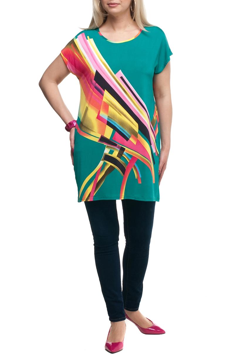 ТуникаТуники<br>Цветная туника с круглой горловиной и короткими рукавами. Модель выполнена из струящегося трикотажа. Отличный выбор для повседневного гардероба.  В изделии использованы цвета: бирюзовый, желтый и др.  Рост девушки-фотомодели 173 см<br><br>Горловина: С- горловина<br>По материалу: Трикотаж<br>По рисунку: С принтом,Цветные<br>По силуэту: Полуприталенные<br>По стилю: Повседневный стиль,Летний стиль<br>Рукав: Короткий рукав<br>По сезону: Лето,Весна,Зима,Осень,Всесезон<br>Размер : 52,54,56,58,60,62<br>Материал: Холодное масло<br>Количество в наличии: 6