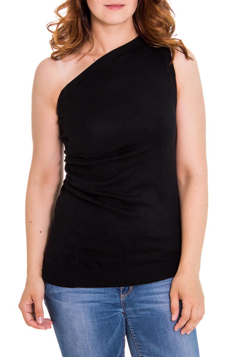 БлузкаБлузки<br>Женская блузка с открытым плечом. Модель выполнена из приятного вязаного трикотажа. Вязаный трикотаж - это красота, тепло и комфорт. В вязаных вещах очень легко оставаться женственной и в то же время не замёрзнуть.  Цвет: черный  Рост девушки-фотомодели 180 см<br><br>По рисунку: Однотонные<br>По сезону: Весна,Всесезон,Зима,Лето,Осень<br>По элементам: С открытыми плечами<br>По материалу: Трикотаж,Вязаные<br>По стилю: Повседневный стиль<br>Горловина: Фигурная горловина<br>По силуэту: Приталенные<br>Рукав: Без рукавов<br>Размер : 46,48<br>Материал: Вязаное полотно<br>Количество в наличии: 2