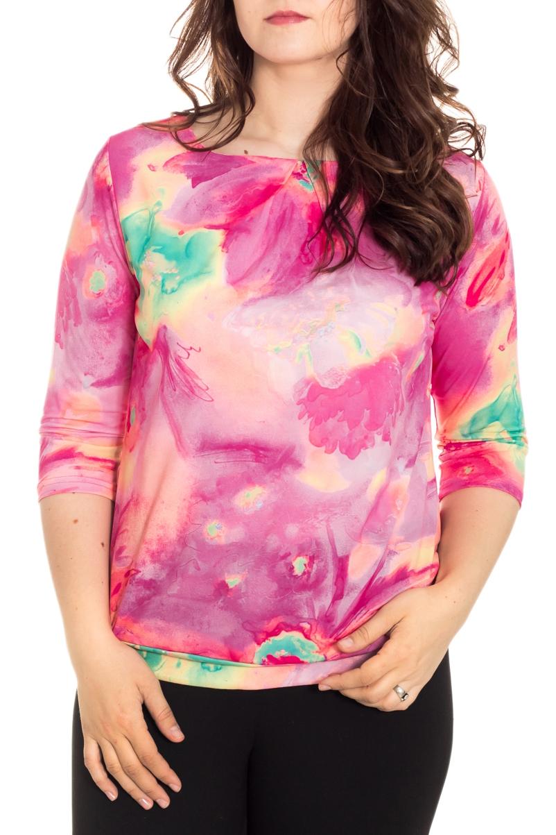 БлузкаБлузки<br>Чудесная женская блузка из приятного к телу материала станет прекрасным дополнением к Вашему гардеробу. Рукава 3/4.  Цвет: розовый, желтый, бирюзовый  Рост девушки-фотомодели 180 см.<br><br>Горловина: С- горловина<br>По материалу: Трикотаж<br>По рисунку: Растительные мотивы,С принтом,Цветные<br>По сезону: Весна,Зима,Лето,Осень,Всесезон<br>По силуэту: Полуприталенные<br>По стилю: Повседневный стиль<br>Рукав: Рукав три четверти<br>Размер : 46,48<br>Материал: Холодное масло<br>Количество в наличии: 2