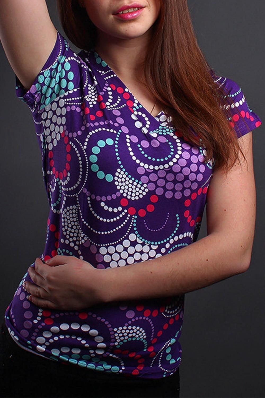 ФутболкаФутболки<br>Футболка с круглой горловиной. Домашняя одежда, прежде всего, должна быть красивой, удобной и практичной. В этой футболке Вы будете чувствовать себя комфортно, особенно, по вечерам после трудового дня.  Ростовка 164-170 см.  Цвет: фиолетовый, мультицвет.<br><br>Горловина: С- горловина<br>По материалу: Вискоза<br>По рисунку: Цветные,С принтом<br>По сезону: Весна,Зима,Лето,Осень,Всесезон<br>По силуэту: Полуприталенные<br>По форме: Футболки<br>Рукав: Короткий рукав<br>Размер : 42-44<br>Материал: Вискоза<br>Количество в наличии: 1