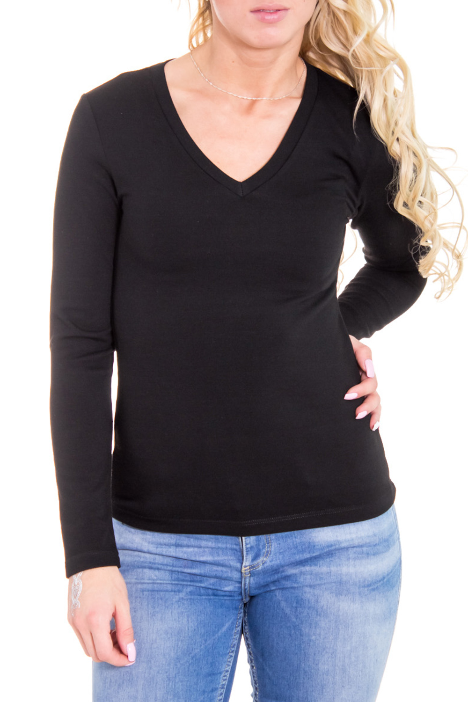 ПуловерДжемперы<br>Классический женский пуловер с длинными рукавами. Цвет: черный.  Рост девушки-фотомодели 170 см<br><br>По материалу: Вискоза,Трикотаж<br>По рисунку: Однотонные<br>По сезону: Весна,Осень<br>По силуэту: Приталенные<br>По стилю: Кэжуал,Повседневный стиль<br>Рукав: Длинный рукав<br>Горловина: V- горловина<br>Размер : 46<br>Материал: Трикотаж<br>Количество в наличии: 1