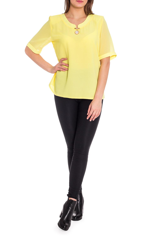БлузкаБлузки<br>Яркая блузка с декоративным элементом у горловины и рукавами до локтя. Модель выполнена из приятного материала. Отличный выбор для любого случая.  В изделии использованы цвета: желтый  Рост девушки-фотомодели 173 см.<br><br>Горловина: Фигурная горловина<br>По материалу: Блузочная ткань,Тканевые<br>По рисунку: Однотонные<br>По сезону: Весна,Зима,Лето,Осень,Всесезон<br>По силуэту: Прямые<br>По стилю: Нарядный стиль,Повседневный стиль<br>По элементам: С декором<br>Рукав: До локтя<br>Размер : 52,54,56,58,60<br>Материал: Блузочная ткань<br>Количество в наличии: 5