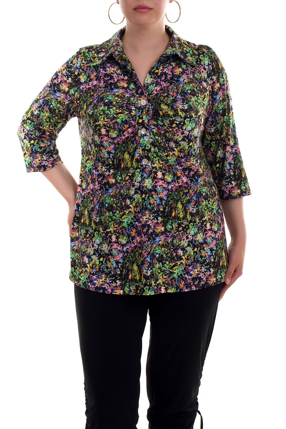 БлузкаБлузки<br>Удлиненная блузка с рубашечным воротником и рукавами 3/4. Модель выполнена из приятного материала. Отличный выбор для любого случая.  Цвет: зеленый, розовый, фиолетовый  Рост девушки-фотомодели 173 см<br><br>Воротник: Рубашечный<br>Застежка: С пуговицами<br>По материалу: Вискоза,Трикотаж<br>По образу: Город,Свидание<br>По рисунку: Растительные мотивы,Цветные,Цветочные<br>По сезону: Весна,Всесезон,Зима,Лето,Осень<br>По силуэту: Полуприталенные<br>По стилю: Повседневный стиль<br>Рукав: Рукав три четверти<br>Размер : 52<br>Материал: Трикотаж<br>Количество в наличии: 2