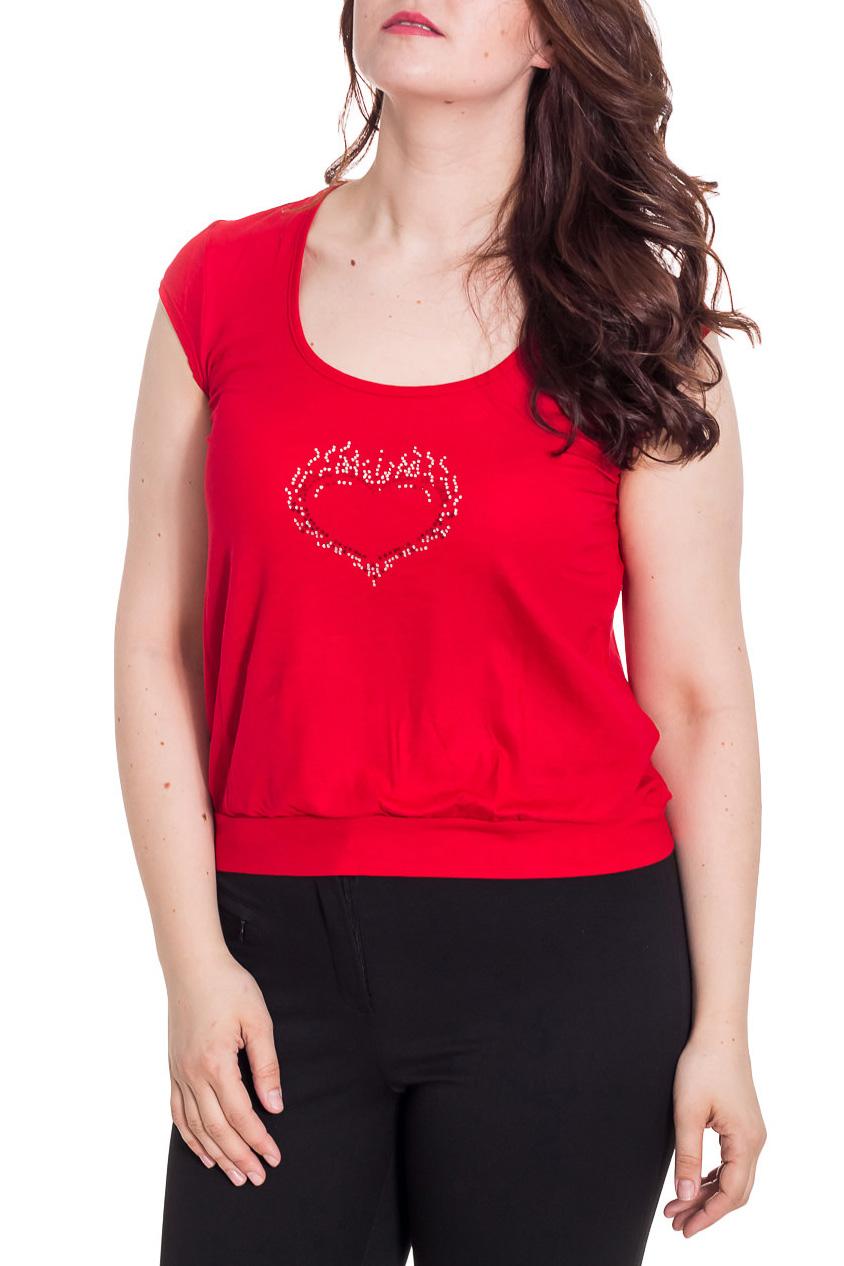 БлузкаБлузки<br>Однотонная женская блузка с короткими рукавами крылышко. Модель выполнена из приятного трикотажа Отличный выбор для повседневного гардероба.  Цвет: красный  Рост девушки-фотомодели 180 см.<br><br>Горловина: С- горловина<br>По материалу: Вискоза,Трикотаж<br>По рисунку: Однотонные<br>По сезону: Весна,Зима,Лето,Осень,Всесезон<br>По силуэту: Полуприталенные,Свободные<br>По стилю: Повседневный стиль<br>Рукав: Короткий рукав<br>Размер : 50,52<br>Материал: Вискоза<br>Количество в наличии: 2
