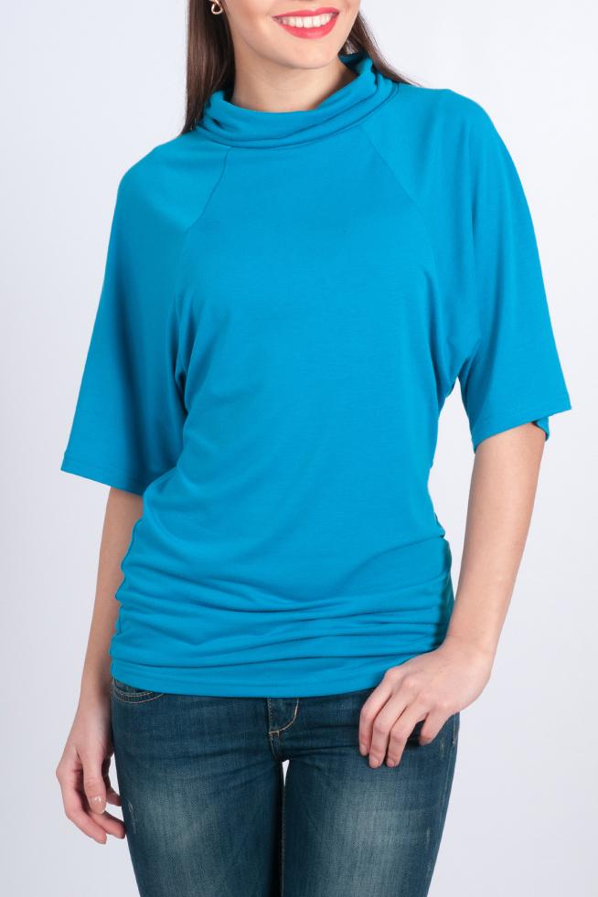 БлузкаБлузки<br>Яркая женская блуза. Модель полуприлегающего силуэта из мягкого трикотажного материала, имеет вырез горловины quot;качелиquot; и укороченный рукав до логтя. Такая блуза будет отлично сочетаться с классическими брюками или джинсами, делая любой Ваш образ стильным и женственным.   Параметры изделия: 42 размер: длина спинки 68см, ширина бедер 42;  54 размер: длина спинки 75см, ширина бедер 53.  В изделии использованы цвета: синий  Рост девушки-фотомодели 170 см.<br><br>Воротник: Хомут<br>По материалу: Вискоза,Трикотаж<br>По рисунку: Однотонные<br>По сезону: Весна,Зима,Лето,Осень,Всесезон<br>По силуэту: Полуприталенные<br>По стилю: Офисный стиль,Повседневный стиль<br>Рукав: До локтя<br>Размер : 44<br>Материал: Трикотаж<br>Количество в наличии: 1