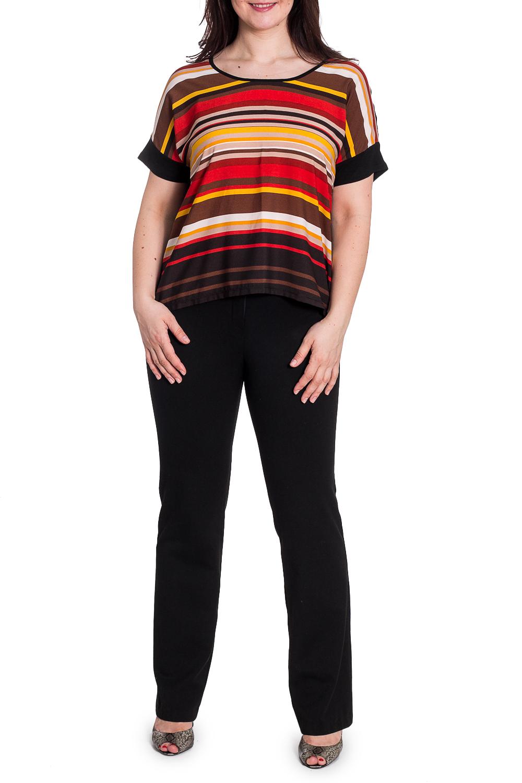 БлузкаБлузки<br>Цветная блузка свободного силуэта с короткими рукавами. Модель выполнена из приятного материала. Отличный выбор для повседневного гардероба.  В изделии использованы цвета: черный, коричневый, красный и  др.  Рост девушки-фотомодели 180 см<br><br>Горловина: С- горловина<br>По материалу: Вискоза,Трикотаж<br>По рисунку: В полоску,Цветные<br>По сезону: Весна,Зима,Лето,Осень,Всесезон<br>По силуэту: Свободные<br>По стилю: Повседневный стиль<br>По элементам: С манжетами<br>Рукав: Короткий рукав<br>Размер : 48-50<br>Материал: Трикотаж<br>Количество в наличии: 1