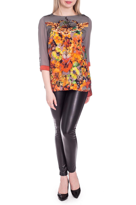 БлузкаБлузки<br>Удлиненная блузка с цветочным принтом. Модель выполнена из приятного материала. Отличный выбор для повседневного гардероба.  В изделии использованы цвета: серый, желтый, коричневый и др.  Рост девушки-фотомодели 170 см.<br><br>Горловина: С- горловина<br>По материалу: Шелк,Шифон<br>По рисунку: Растительные мотивы,С принтом,Цветные,Цветочные<br>По сезону: Весна,Зима,Лето,Осень,Всесезон<br>По силуэту: Прямые<br>По стилю: Повседневный стиль<br>По элементам: С манжетами<br>Рукав: Рукав три четверти<br>Размер : 42,44,46<br>Материал: Искусственный шелк + Шифон<br>Количество в наличии: 3