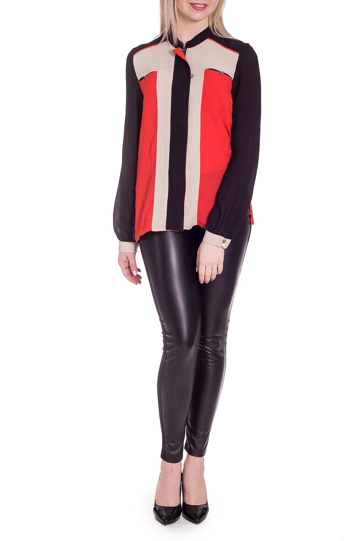 БлузкаБлузки<br>Цветная блузка прямого силуэта. Модель выполнена из приятного материала. Отличный выбор для повседневного гардероба.  В изделии использованы цвета: красный, бежевый, черный  Рост девушки-фотомодели 170 см.<br><br>Воротник: Стойка<br>Застежка: С пуговицами<br>По материалу: Шелк<br>По рисунку: Цветные<br>По сезону: Весна,Зима,Лето,Осень,Всесезон<br>По силуэту: Прямые<br>По стилю: Повседневный стиль<br>По элементам: С манжетами<br>Рукав: Длинный рукав<br>Размер : 42,46,48<br>Материал: Искусственный шелк<br>Количество в наличии: 3