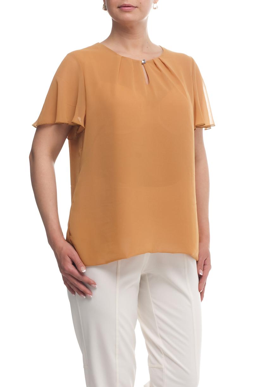 БлузаБлузки<br>Однотонная блузка с круглой горловиной и короткими рукавами. Модель выполнена из воздушного шифона. Отличный выбор для любого случая.  Цвет: песочный  Рост девушки-фотомодели 173 см<br><br>Горловина: С- горловина<br>По материалу: Шифон<br>По рисунку: Однотонные<br>По сезону: Весна,Зима,Лето,Осень,Всесезон<br>По силуэту: Прямые<br>По стилю: Нарядный стиль,Повседневный стиль,Летний стиль<br>По элементам: С воланами и рюшами,С декором,С отделочной фурнитурой<br>Рукав: Короткий рукав<br>Размер : 50,52,54,56,60<br>Материал: Шифон<br>Количество в наличии: 5