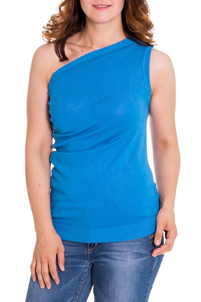 БлузкаБлузки<br>Женская блузка с открытым плечом. Модель выполнена из приятного вязаного трикотажа. Вязаный трикотаж - это красота, тепло и комфорт. В вязаных вещах очень легко оставаться женственной и в то же время не замёрзнуть.  Цвет: голубой  Рост девушки-фотомодели 180 см<br><br>По материалу: Вискоза,Трикотаж<br>По образу: Город,Свидание<br>По рисунку: Однотонные<br>По сезону: Весна,Всесезон,Зима,Лето,Осень<br>По силуэту: Полуприталенные<br>По элементам: С открытыми плечами<br>По стилю: Винтаж,Молодежный стиль,Повседневный стиль<br>Размер : 46<br>Материал: Вязаное полотно<br>Количество в наличии: 1