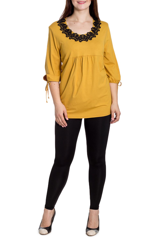 БлузкаБлузки<br>Чудесная блузка с контрастной отделкой у горловины. Модель выполнена из приятного материала. Отличный выбор для повседневного гардероба.  В изделии использованы цвета: желтый, черный  Рост девушки-фотомодели 180 см<br><br>Горловина: С- горловина<br>По материалу: Вискоза,Гипюр<br>По образу: Город,Свидание<br>По рисунку: Цветные<br>По сезону: Весна,Зима,Лето,Осень,Всесезон<br>По силуэту: Полуприталенные<br>По стилю: Повседневный стиль<br>По элементам: С декором<br>Рукав: Рукав три четверти<br>Размер : 62,66<br>Материал: Вискоза + Гипюр<br>Количество в наличии: 2