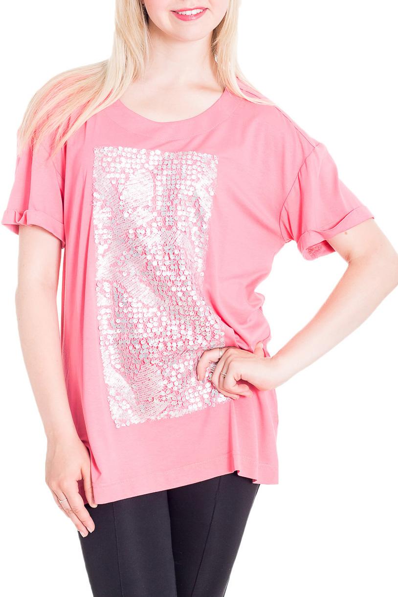 БлузкаБлузки<br>Красивая блузка свободного силуэта с короткими рукавами. Модель выполнена из мягкой вискозы. Отличный выбор для любого случая.   Цвет: розовый  Рост девушки-фотомодели 170 см.<br><br>Горловина: С- горловина<br>По материалу: Вискоза,Трикотаж<br>По рисунку: Однотонные<br>По сезону: Весна,Зима,Лето,Осень,Всесезон<br>По силуэту: Свободные<br>По стилю: Повседневный стиль<br>По элементам: С декором,С отделочной фурнитурой<br>Рукав: Короткий рукав<br>Размер : 44-46,48-50,52-56,58-62,64-68<br>Материал: Вискоза<br>Количество в наличии: 8