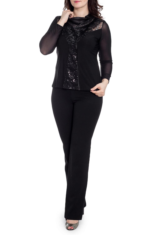 БлузкаБлузки<br>Нарядная блузка с длинными рукавами. Модель выполнена из приятного трикотажа. Отличный выбор для любого случая.  В изделии использованы цвета: черный  Рост девушки-фотомодели 180 см.<br><br>Воротник: Хомут<br>По материалу: Трикотаж<br>По рисунку: Однотонные<br>По сезону: Весна,Зима,Лето,Осень,Всесезон<br>По силуэту: Полуприталенные<br>По стилю: Вечерний стиль,Нарядный стиль<br>По элементам: С декором,С отделочной фурнитурой<br>Рукав: Длинный рукав<br>Размер : 52,54<br>Материал: Трикотаж<br>Количество в наличии: 2