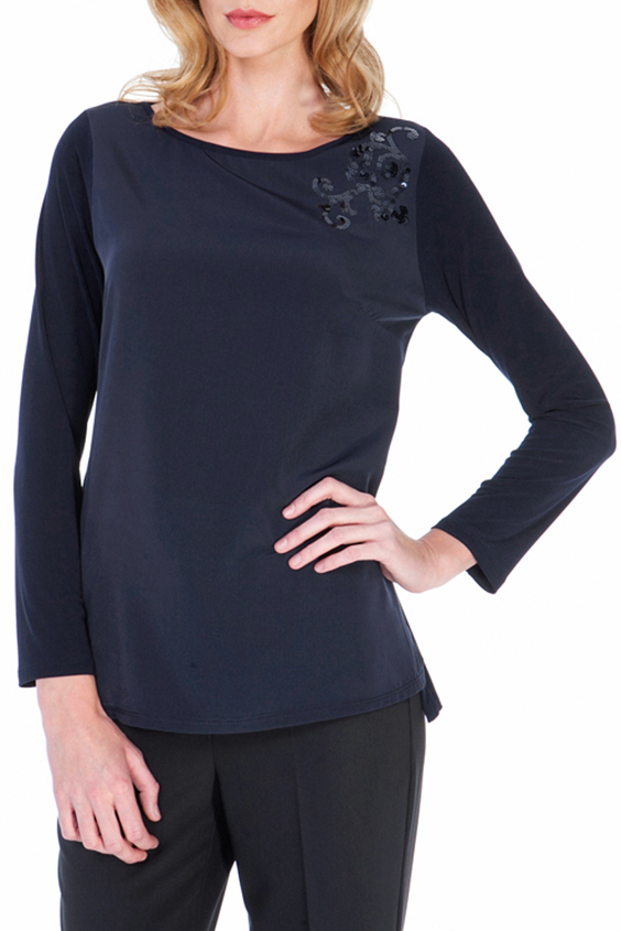 БлузкаБлузки<br>Нарядная блузка с длинными рукавами и декором из пайеток у плеча. Модель выполнена из приятного трикотажа. Отличный выбор для любого случая.  Цвет: синий  Ростовка изделия 170 см.<br><br>Горловина: С- горловина<br>По материалу: Вискоза,Трикотаж<br>По рисунку: Однотонные<br>По сезону: Весна,Всесезон,Зима,Лето,Осень<br>По силуэту: Свободные<br>По стилю: Нарядный стиль,Повседневный стиль<br>По элементам: С декором<br>Рукав: Длинный рукав<br>Размер : 44,50,52<br>Материал: Холодное масло<br>Количество в наличии: 3