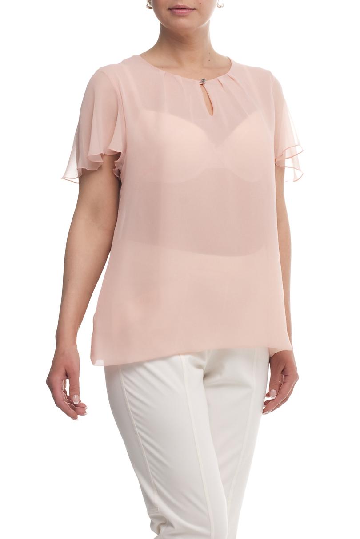 БлузаБлузки<br>Однотонная блузка с круглой горловиной и короткими рукавами. Модель выполнена из воздушного шифона. Отличный выбор для любого случая.  Цвет: пудровый  Рост девушки-фотомодели 173 см<br><br>Горловина: С- горловина<br>По материалу: Шифон<br>По рисунку: Однотонные<br>По сезону: Весна,Зима,Лето,Осень,Всесезон<br>По силуэту: Прямые<br>По стилю: Нарядный стиль,Повседневный стиль,Летний стиль<br>По элементам: С воланами и рюшами,С декором,С отделочной фурнитурой<br>Рукав: Короткий рукав<br>Размер : 50,52,54,60<br>Материал: Шифон<br>Количество в наличии: 4
