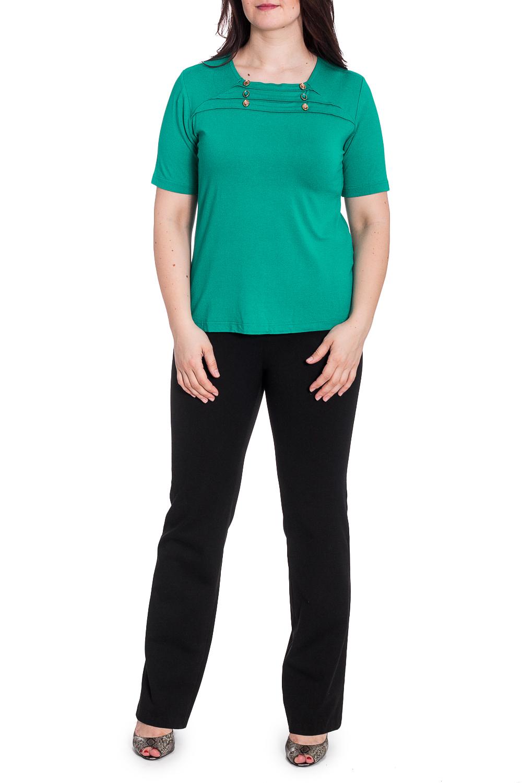 БлузкаБлузки<br>Однотонная блузка с короткими рукавами. Модель выполнена из приятного материала. Отличный выбор для повседневного гардероба.  В изделии использованы цвета: зеленый  Рост девушки-фотомодели 180 см<br><br>Горловина: С- горловина<br>По материалу: Вискоза<br>По рисунку: Однотонные<br>По сезону: Весна,Зима,Лето,Осень,Всесезон<br>По силуэту: Приталенные<br>По стилю: Повседневный стиль,Летний стиль<br>По элементам: С декором<br>Рукав: Короткий рукав<br>Размер : 52-54<br>Материал: Вискоза<br>Количество в наличии: 1