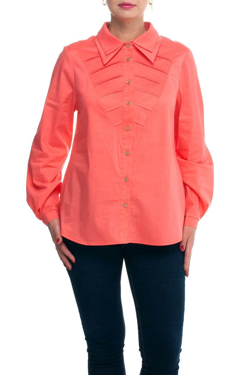 БлузаРубашки<br>Однотонная блузка с рубашечным воротником и длинными рукавами с манжетами. Модель выполнена из хлопкового материала. Отличный выбор для любого случая.  Цвет: коралловый  Рост девушки-фотомодели 173 см<br><br>Воротник: Рубашечный<br>Застежка: С пуговицами<br>По материалу: Хлопок<br>По образу: Город<br>По рисунку: Однотонные<br>По сезону: Весна,Зима,Лето,Осень,Всесезон<br>По силуэту: Полуприталенные<br>По стилю: Повседневный стиль<br>По элементам: С декором,С манжетами,Со складками<br>Рукав: Длинный рукав<br>Размер : 52,62,64<br>Материал: Хлопок<br>Количество в наличии: 4