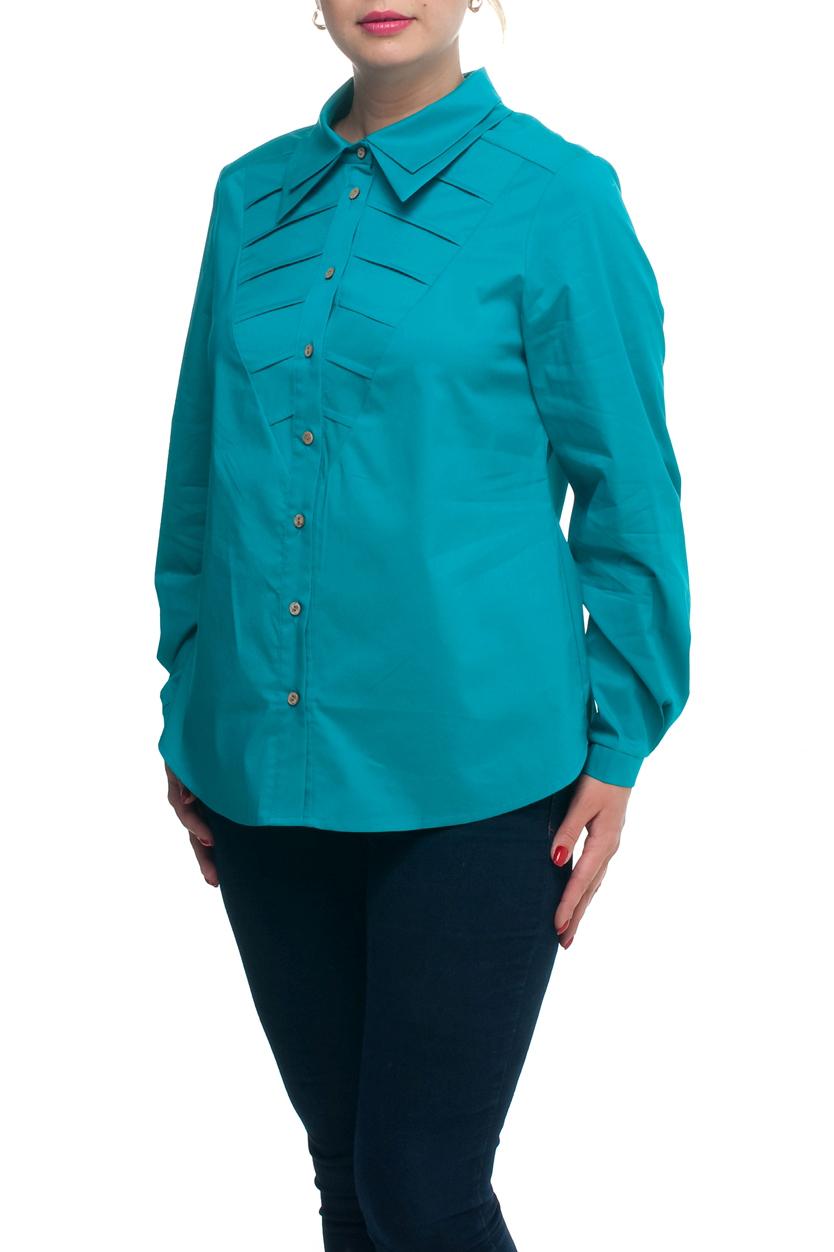 БлузаРубашки<br>Однотонная блузка с рубашечным воротником и длинными рукавами с манжетами. Модель выполнена из хлопкового материала. Отличный выбор для любого случая.  Цвет: бирюзовый  Рост девушки-фотомодели 173 см<br><br>Воротник: Рубашечный<br>Застежка: С пуговицами<br>По материалу: Хлопок<br>По рисунку: Однотонные<br>По сезону: Весна,Зима,Лето,Осень,Всесезон<br>По силуэту: Полуприталенные<br>По стилю: Повседневный стиль<br>По элементам: С декором,С манжетами,Со складками<br>Рукав: Длинный рукав<br>Размер : 52,60,64,66,68<br>Материал: Хлопок<br>Количество в наличии: 6