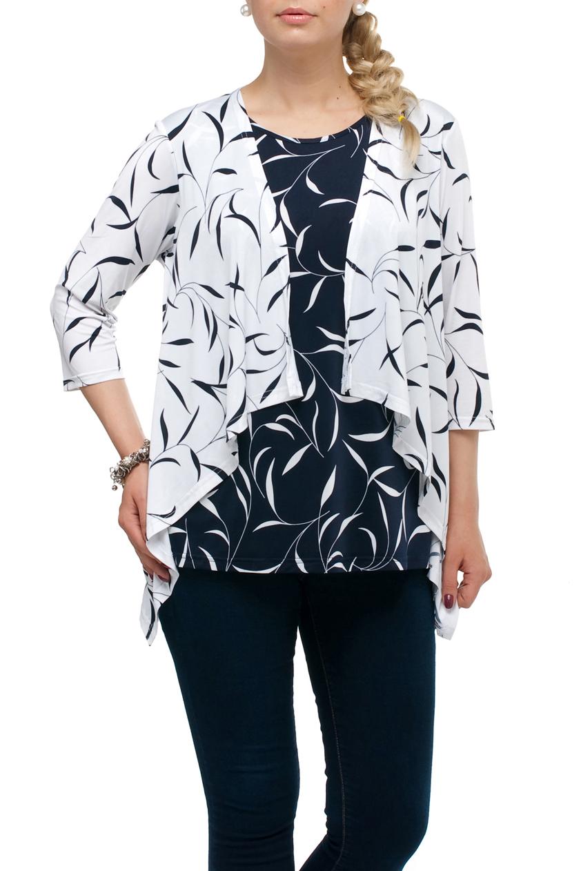 БлузкаБлузки<br>Интересная блузка с имитацией кардигана. Модель выполнена из приятного трикотажа. Отличный выбор для любого случая.  В изделии использованы цвета: синий, белый  Рост девушки-фотомодели 173 см.<br><br>Горловина: С- горловина<br>По материалу: Трикотаж<br>По образу: Город,Свидание<br>По рисунку: С принтом,Цветные<br>По сезону: Весна,Зима,Лето,Осень,Всесезон<br>По силуэту: Полуприталенные<br>По стилю: Повседневный стиль<br>Рукав: Рукав три четверти<br>Размер : 52,54,56,58,60,62,64,68<br>Материал: Холодное масло<br>Количество в наличии: 30