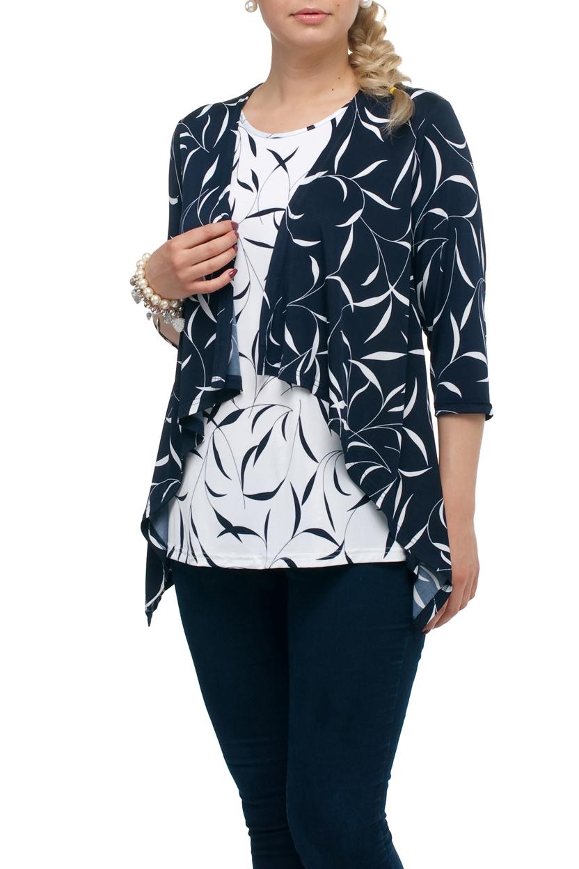 БлузкаБлузки<br>Интересная блузка с имитацией кардигана. Модель выполнена из приятного трикотажа. Отличный выбор для любого случая.  В изделии использованы цвета: синий, белый  Рост девушки-фотомодели 173 см.<br><br>Горловина: С- горловина<br>По материалу: Трикотаж<br>По рисунку: С принтом,Цветные<br>По сезону: Весна,Зима,Лето,Осень,Всесезон<br>По силуэту: Полуприталенные<br>По стилю: Повседневный стиль<br>Рукав: Рукав три четверти<br>Размер : 52,54,60,62,64,68<br>Материал: Холодное масло<br>Количество в наличии: 15