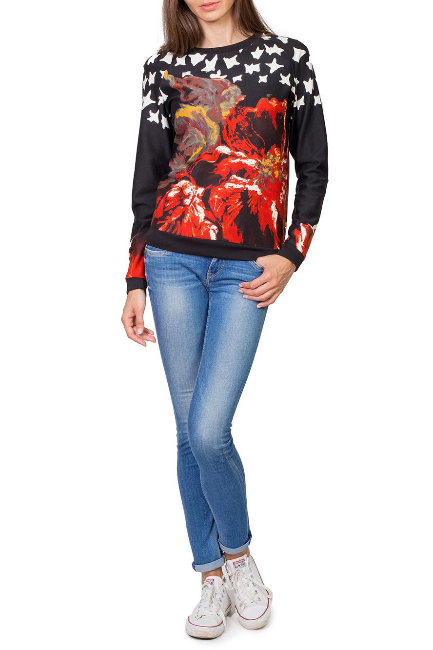 ДжемперДжемперы<br>Превосходный джемпер с длинным рукавом и округлой горловиной выполнен из трикотажного полотна тонкой вязки. Полуприталенный силуэт. Прекрасно подойдет к джинсам и брюкам.  Цвет: черный, мультицвет  Рост девушки-фотомодели 182 см.<br><br>Горловина: С- горловина<br>По материалу: Вискоза,Трикотаж<br>По рисунку: Цветные,Цветочные,С принтом<br>По сезону: Весна,Осень<br>По силуэту: Полуприталенные<br>По стилю: Повседневный стиль<br>Рукав: Длинный рукав<br>По элементам: С манжетами<br>Размер : 42,44,46,48,50,52<br>Материал: Джерси<br>Количество в наличии: 8