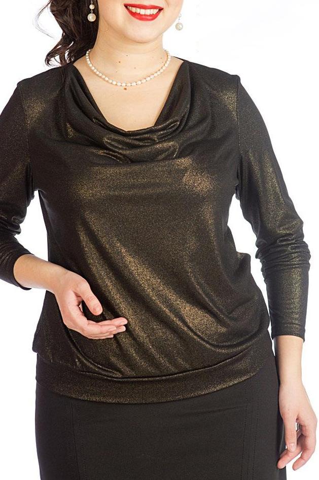 БлузкаБлузки<br>Нарядная трикотажная блузка с мерцанием «Качели». Блузка прямого силуэта, на притачном поясе, рукав втачной длинный, вырез горловины овальный с драпировкой «качели»   Длина блузки по середине спинки: 60 см  Цвет: коричневый, золотой  Рост девушки-фотомодели 170 см.<br><br>Горловина: Качель<br>По материалу: Бархат,Трикотаж<br>По образу: Выход в свет,Свидание<br>По рисунку: Однотонные<br>По сезону: Весна,Всесезон,Зима,Лето,Осень<br>По силуэту: Прямые<br>По стилю: Нарядный стиль<br>Рукав: Длинный рукав<br>Размер : 50,52,54<br>Материал: Холодное масло<br>Количество в наличии: 8