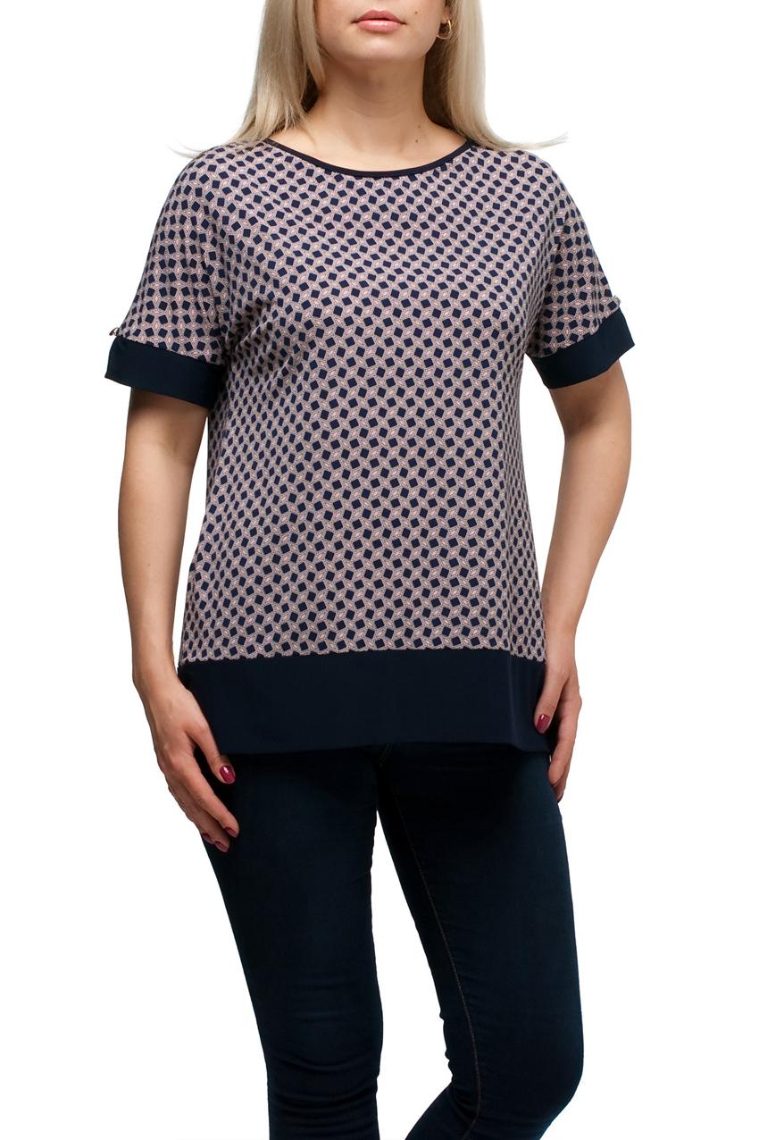 БлузкаБлузки<br>Цветная блузка с круглой горловиной и короткими рукавами. Модель выполнена из приятного материала. Отличный выбор для повседневного гардероба.  В изделии использованы цвета: синий, розовый  Рост девушки-фотомодели 173 см.<br><br>Горловина: С- горловина<br>По материалу: Трикотаж<br>По рисунку: С принтом,Цветные<br>По сезону: Весна,Зима,Лето,Осень,Всесезон<br>По силуэту: Полуприталенные<br>По стилю: Повседневный стиль<br>Рукав: Короткий рукав<br>Размер : 48,50,52,54,56,58,60,62,64,66,68,70<br>Материал: Холодное масло<br>Количество в наличии: 22